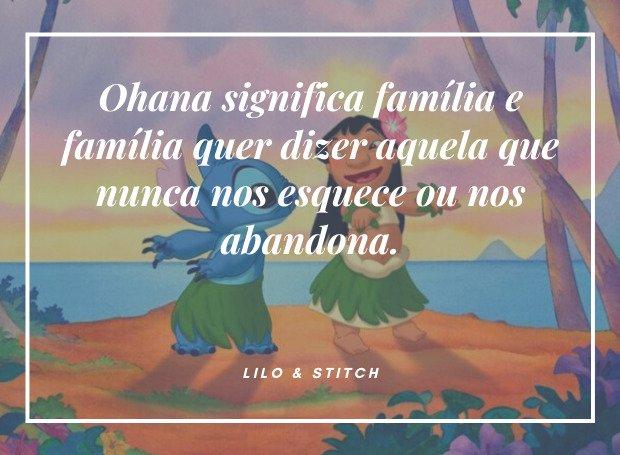 nome Ohana: cena do filme Lilo & Stitch.