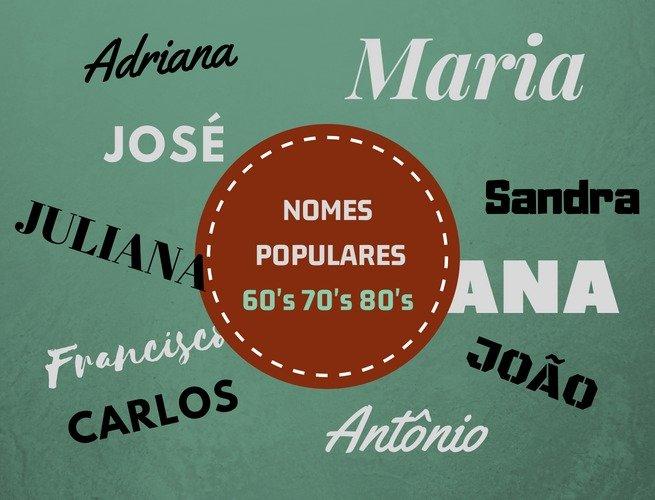 nomes mais populares do Brasil décadas de 60 70 e 80 a